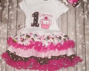 Birthday Dress - cupcake dress - 1st birthday - custom ruffled and embroidered birthday dress