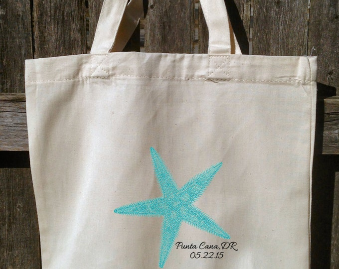 Wedding Party Tote Bags, Bridesmaid Wedding Bags, Cotton Totes, Starfish, Intials, Nautical, 13x13x3 With Gusset