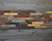 Striped Table Runner, Wall Hanging in Browns and Golds
