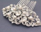 Wedding hair comb Rhinestone Bridal hair comb pearl Wedding hair accessory vintage Bridal headpiece Wedding hair jewelry Bridal hair piece
