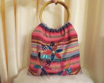 Vintage Multicoloured Striped Cotton Floral Beaded Top Handle Shoulder Bag Tote