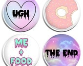 Me and Food Pastel Goth Soft Grunge Kawaii (Set 4) Button Badges - 4 Pack