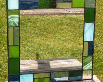 Stained glass mirror with ocean green, blue and transparent glass 40 x 40cm MTO