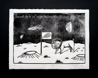 Pig on the Moon linocut print poster