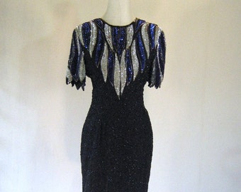 Blue & Silver Stenay Beaded Dress Glam