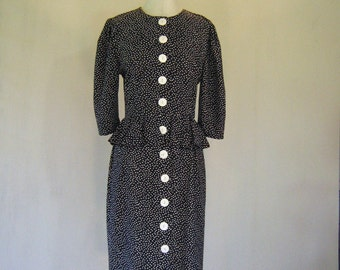 1980s Black & White Polka Dot Peplum Dress