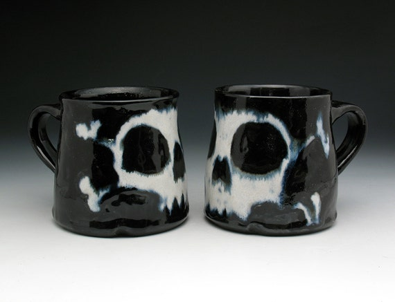 Skull Coffee Mug Set Stoneware Pirate By Nicolepangasceramics