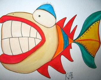 Fish Watercolor J3, Original Watercolor Painting, by Fig Jam Studio