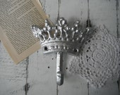 silver hook crown hook jewelry hanger French country tiara hook coat hook shabby and chic rustic hook nursery decor shabby rustic decor