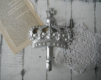 silver crown hook coat hook french country decor silver wall hook nursery decor shabby decor jewelry hanger clothing hook paris apartment