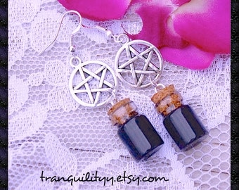 Pentacle Bottle Earrings , Wizardry,Wiccan, Gothic, Emo, Cyber, Vamp  Pentacle Sliver Tone Earring Handmade By:Tranquilityy