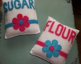 Felt flour and sugar bags