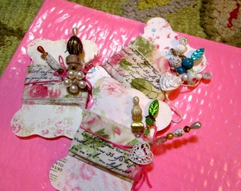 3 Luxe Retro Stick, Gift, Corsage, Hat, Party, Trinket Decorated Sewing PINS, BUTTON, Shabby Chic Fabric Printed TAGS/Cards - Gorgeous