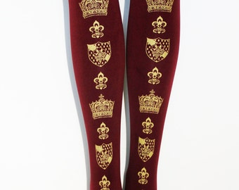 Crown Plus Size Tights Extra Large Gold on Burgundy Bordeaux Oxblood Red Lolita Dolly Kei Ren Faire Renaissance Printed Tights