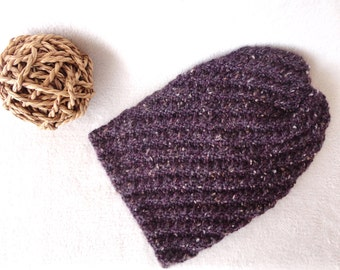 Purple Slouchy Beanie AUBERGINE Eggplant Wool - Alpaca Blend Hand Knit Hat Handmade Dark Purple Beanie Fashion Hat Handknit by WormeWoole