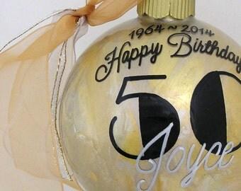 HAPPY 50Tth BIRTHDAY! PERSONALIZED Glass Christmas Ornament Keepsake Gift