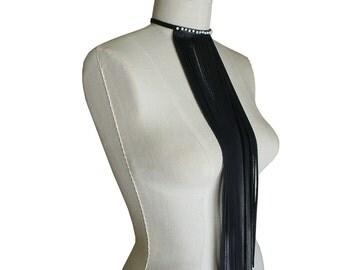 BEADED LEATHER FRINGE Choker Long Fringe Necklace Bohemian Necklace Boho Choker Black & White Womens Leather Jewelry