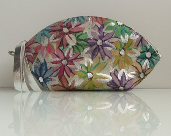 Leather  zipper pouch / bag organizer / cosmetic bag / make up case WEDGE in nubuck leather with printed multicolor flowers