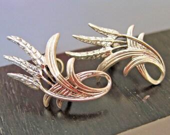 Danecraft Sterling Silver 1940s Wheat Earrings Screw Back