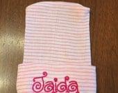 Pink and white striped monogrammed newborn hat