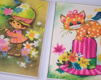Pair 5x7 UpCycled Framed Retro Images ~ Kitten & Child ~ Baby Nursery Childrens Playroom