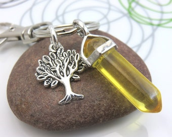 Citrine keychain gemstone keyring tree of life keychain yellow point crystal silver with swivel clasp