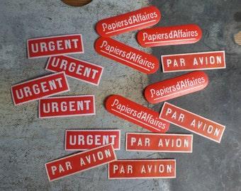 15 vintage French red gummed unused labels