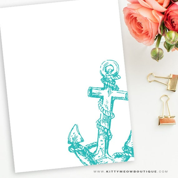 Teal & White Anchor, Nautical, Sailor Stationery Note Cards
