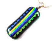 """Dichroic Glass Pendant - Blue Cobalt Teal Green Yellow Gold Striped Rainbow Patterned Metallic Dichro Fused Glass 2"""" Long"""