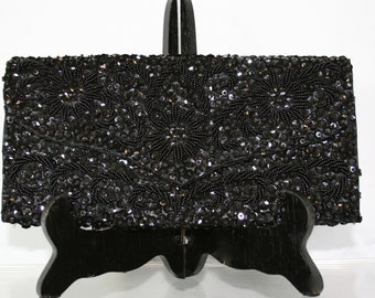 Vintage Black Beaded Mid Century Clutch by Debie