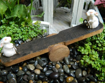 Fairy Garden Miniature Teeter Totter with Bunnies for Miniature garden or Terrarium