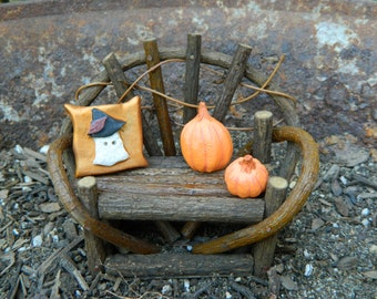 Fairy Garden Miniature Twig Bench with Pillow and Pumpkins Halloween Miniature Bench Halloween Miniature Accessories