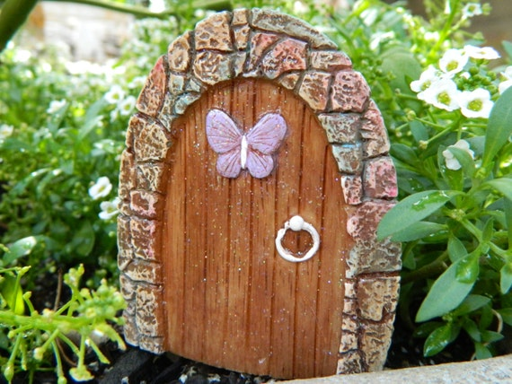 Fairy garden door small fairy garden miniatures lavender for Outdoor fairy door