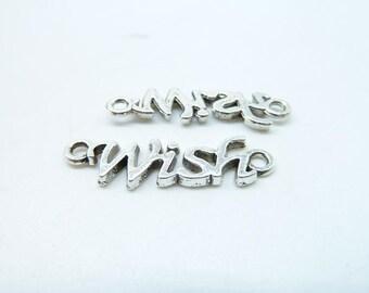 """25pcs 8x28mm Antique Silver Mini Letter """"Wish"""" Connector Link Charm Pendant c6802"""