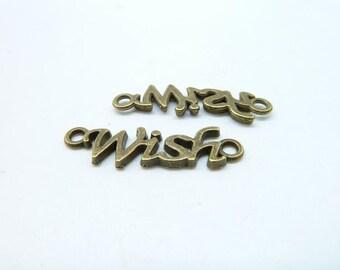 """25pcs 8x28mm Antique Bronze Mini Letter """"Wish"""" Connector Link Charm Pendant c6803"""
