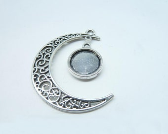 10 sets-Moon and Tray charms, Antique Silver Crescent Moon ,Galaxy, Cosmic Universe jewelry 12mm Base Setting 7182 3096