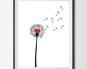 Dandelion Print Dandelion Art Dandelions Red Heart Hearts Love Nursery Make a Wish Wall Decor Poster Printable Download Downloadable Picture