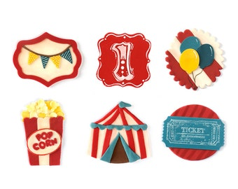 12 vintage circus Fondant toppers for cupcakes or cookies
