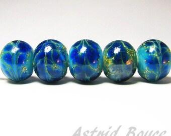 Classic Blue Drift Rounds - Handmade Artisan Lampwork Beads - SRA - B-195