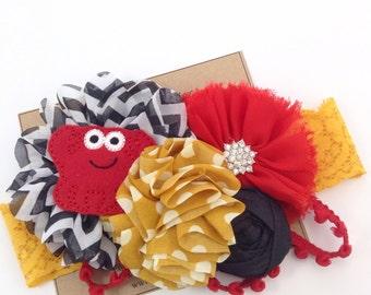 Crab Headband Red, Black & Mustard Headband Summer Headband Beach Lobster Lace Headband Photo Prop OTT Headband Shabby Ballerina Flower