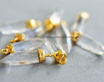 One Natural Crystal Gold Vermeil Bullet Point Pendant  23 x 5mm