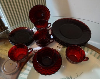 Anchor Hocking Royal Ruby Bubble Vintage Dinnerware Set