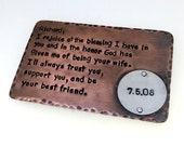 Wallet Insert Card - Antiqued & Textured Copper - Hand Stamped - 250 Character Max With Riveted Item Summer Sale !! Great Anniversary Gift!!