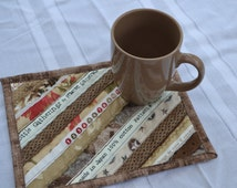 Tan Cotton coasters, upcycled selvage, Mini placemats, Shades of brown quilted mug rug, eco friendly, coworker gift
