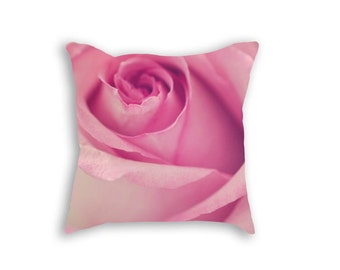 Rose Pillow, Pink Rose Decorative Pillow Cover, Pink Rose Pillowcase, Shabby Chic Pillow Cover, Pink Rose Decor, Pink Floral Pillow