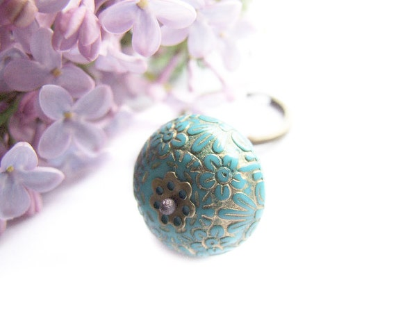 Blue Spring Keychain, Adorable Floral Retro Style Blue Keychain, For Her