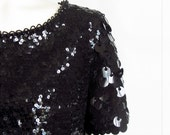 vintage 60s black small and big sequin sweater top blouse
