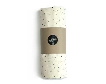 BLACK POLKA DOT cream crib sheet