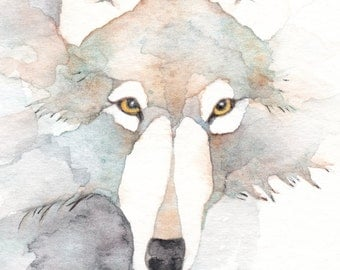 WOLF ACEO watercolor giclee PRINT totem spirit animal 'Walks in Silence' - Free Shipping