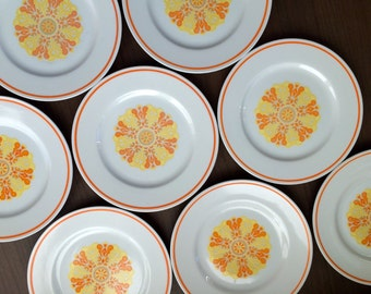 Orange and Yellow Funky Translucent Porcelain Plate Set of 8 by Royalton China Japan